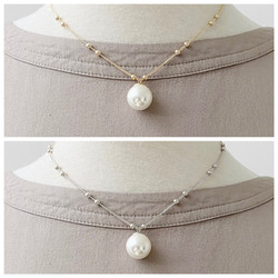 Gold Chain Short Necklace with Pearl