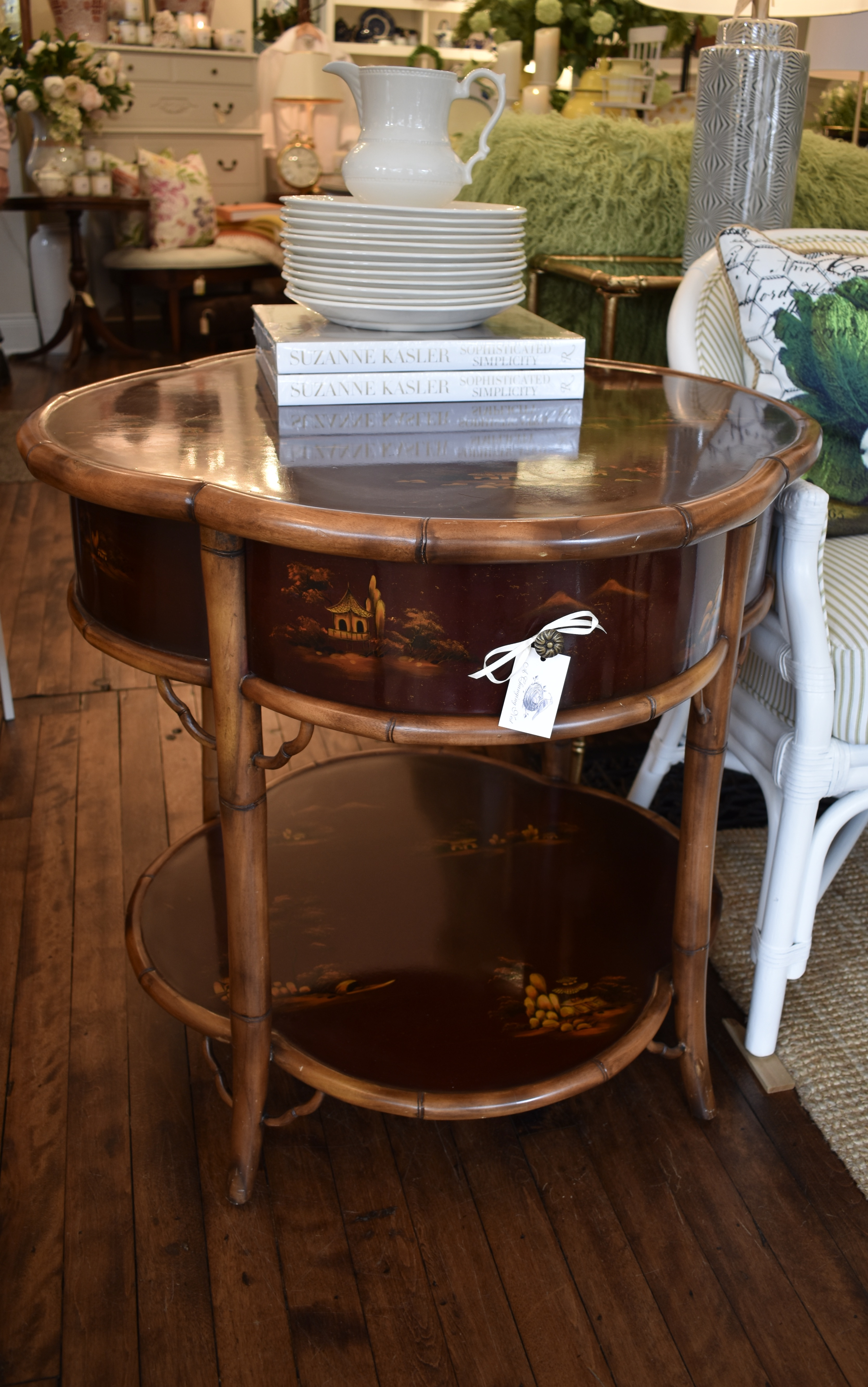 VIntage Bamboo Table with Chinoiserie Mo