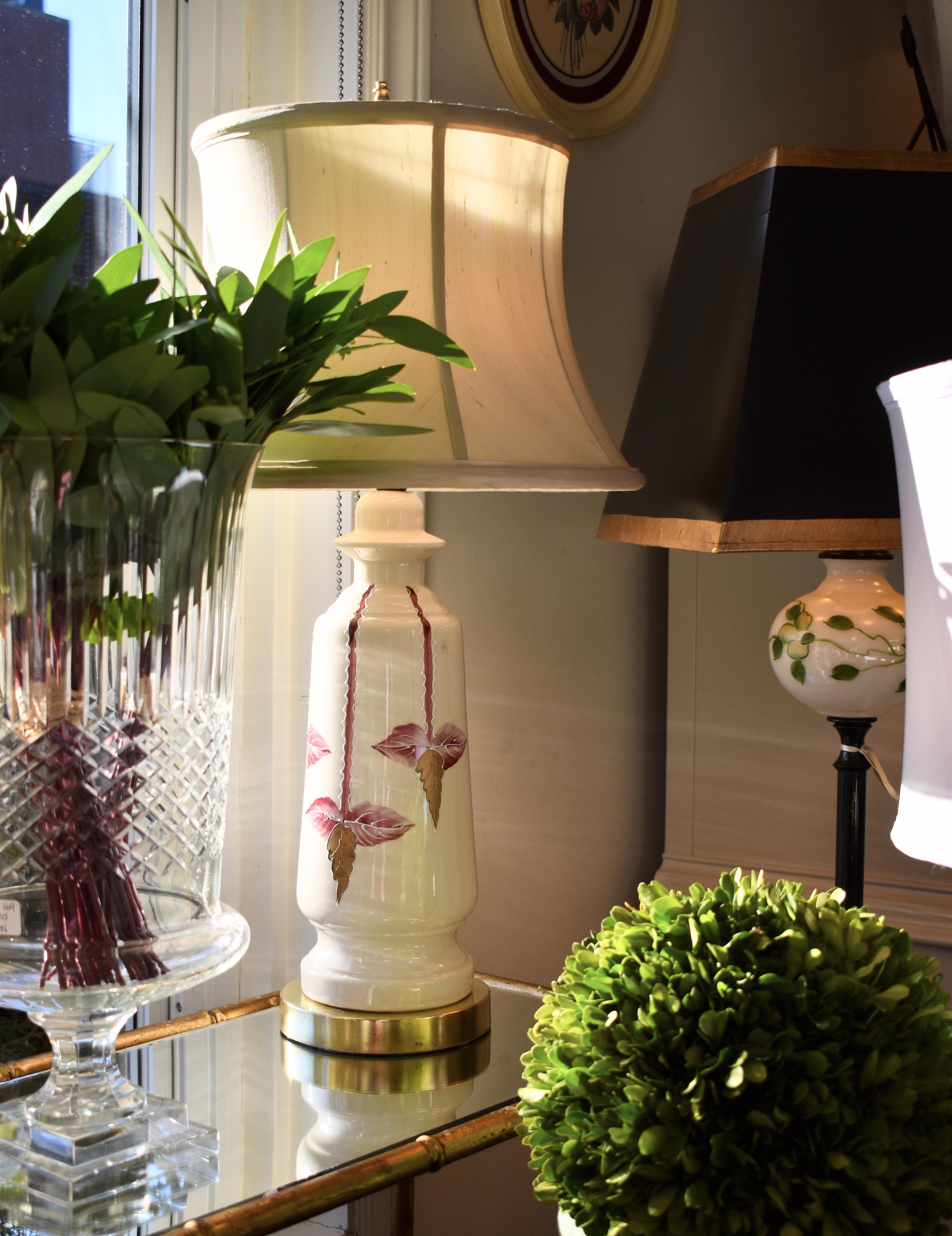Vintage Cream & Pink Ceramic Lamp