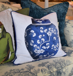 Designer Feather Accent Cushions - Single Blue Urn