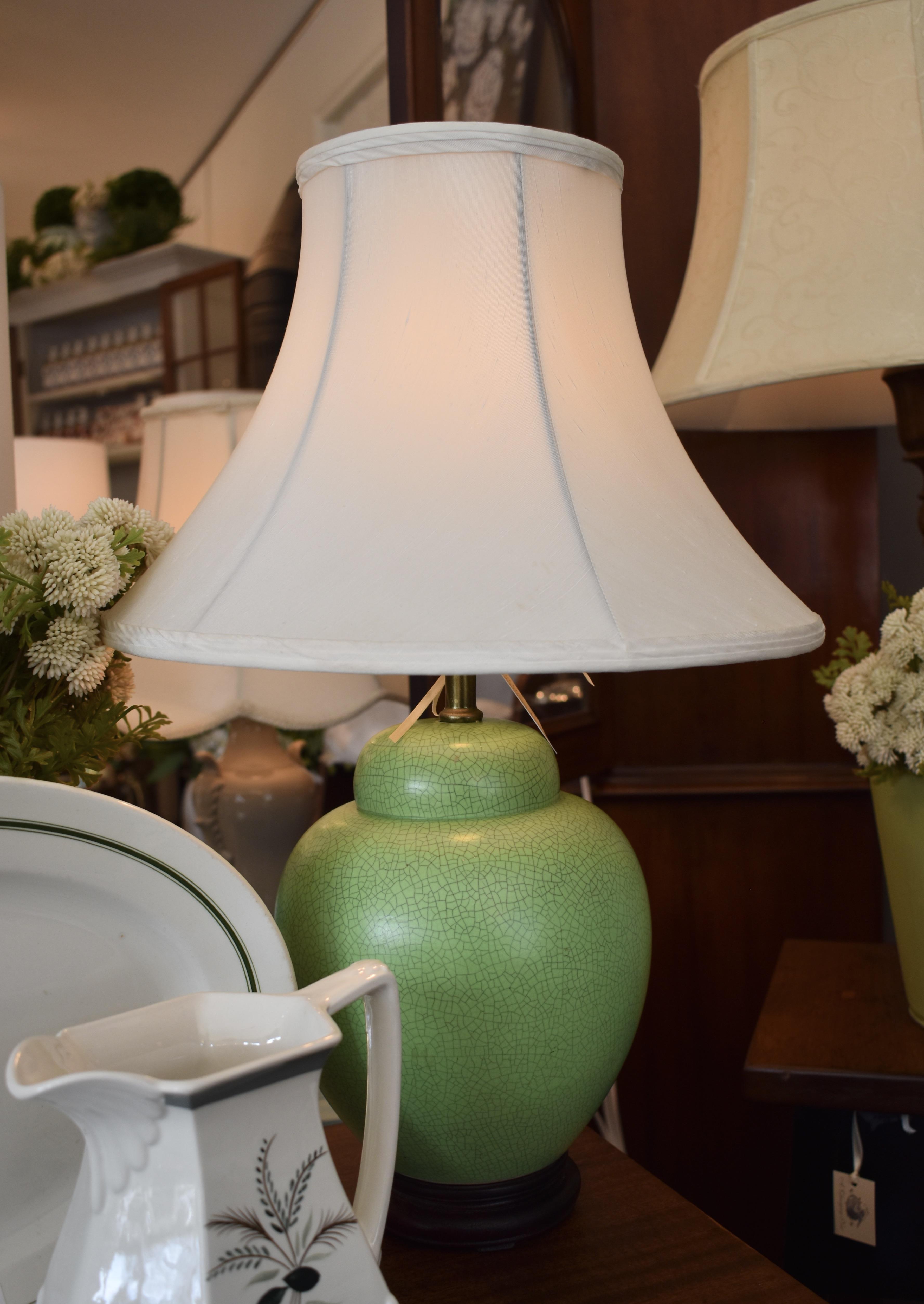 Vintage Apple Green Crackle Ceramic Lamp