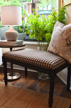 Upholstered Checked Bench