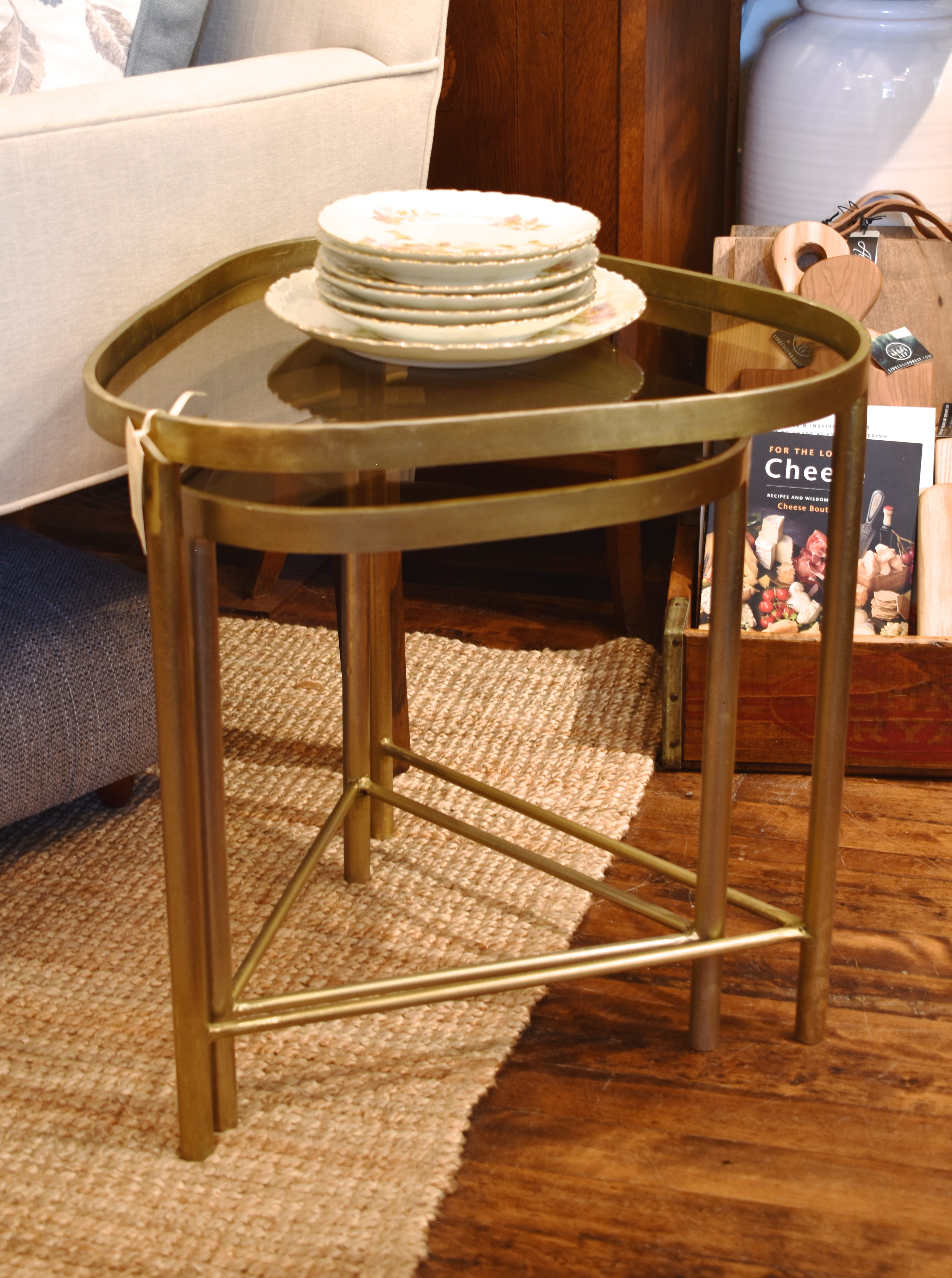 Nested Glass and Metal End Tables