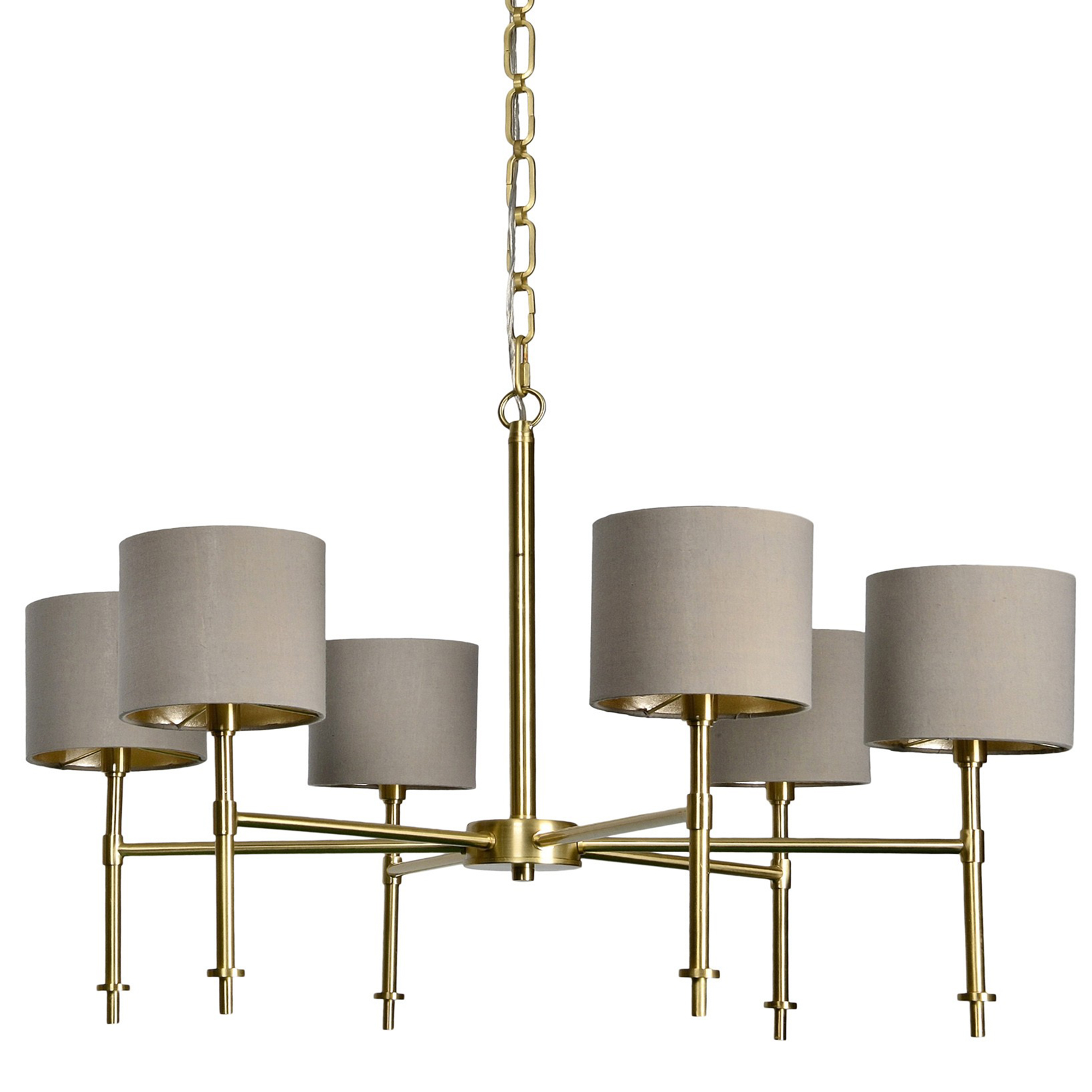 Chandeliere w/Brushed Gold w/ Shades
