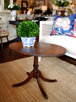 Vintage Refinished Oval Coffee Table
