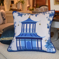 Designer Feather Accent Cushions - Pagoda