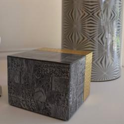 Grey Resin & Brass Storage Box