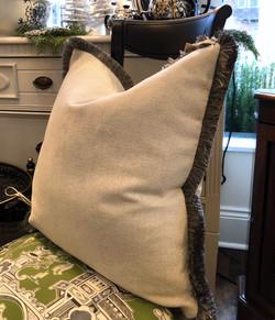 Custom Cream Cushion with Dark Fringe