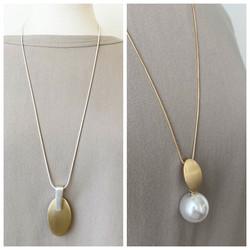 Brushed Metallic Long Necklaces