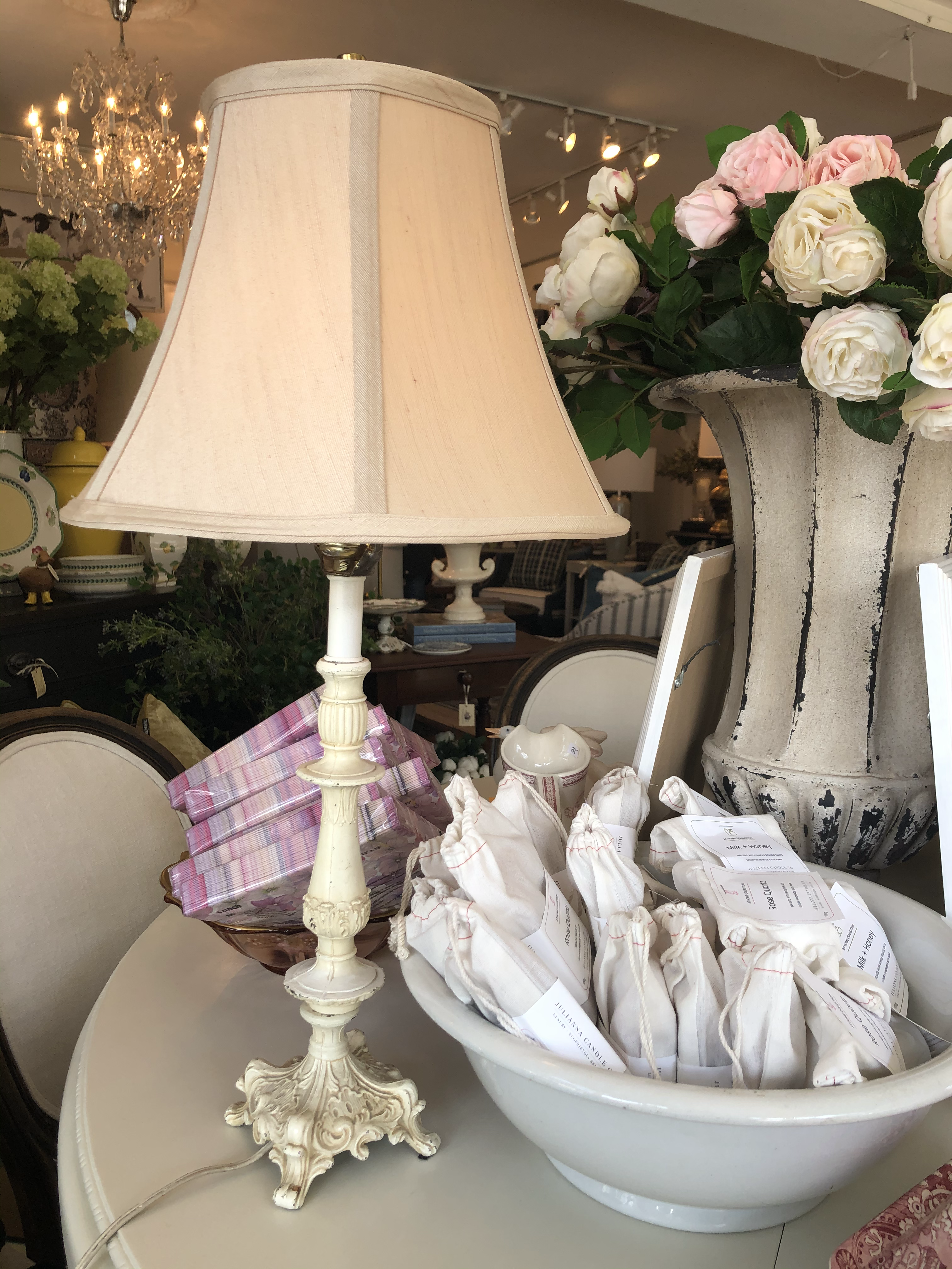 Pair French Shabby Chic Lamps