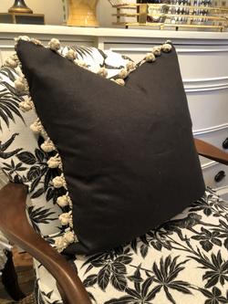 Custom Black Linen Pom Pom Cushion