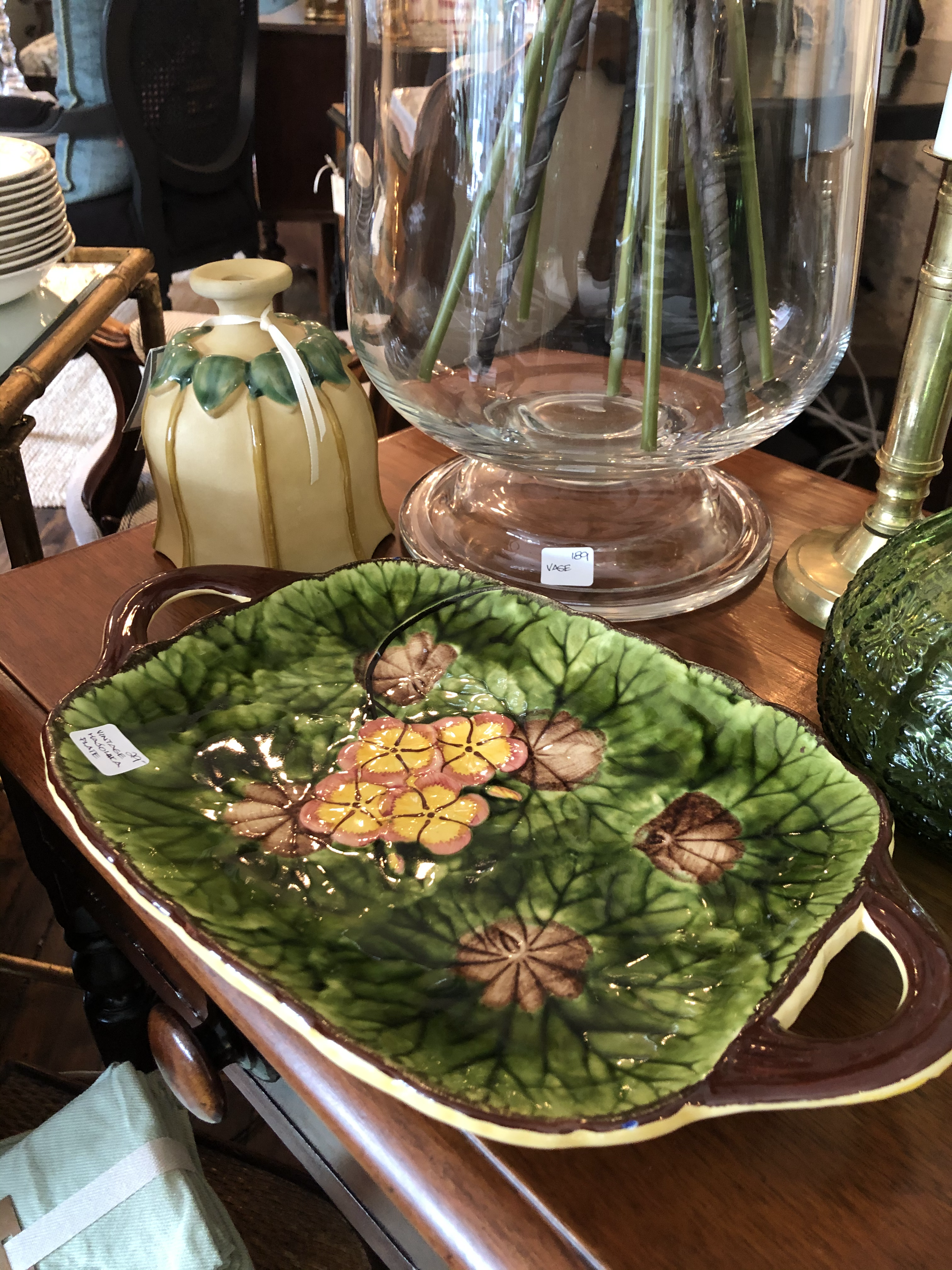 Majolica Tray with Handle