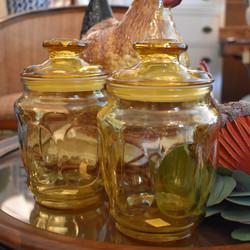 Vintage Amber storage Jars
