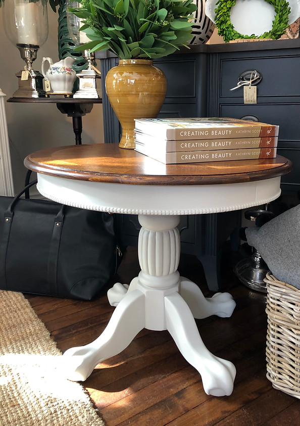 Painted Vintage Oval Pedestal Table