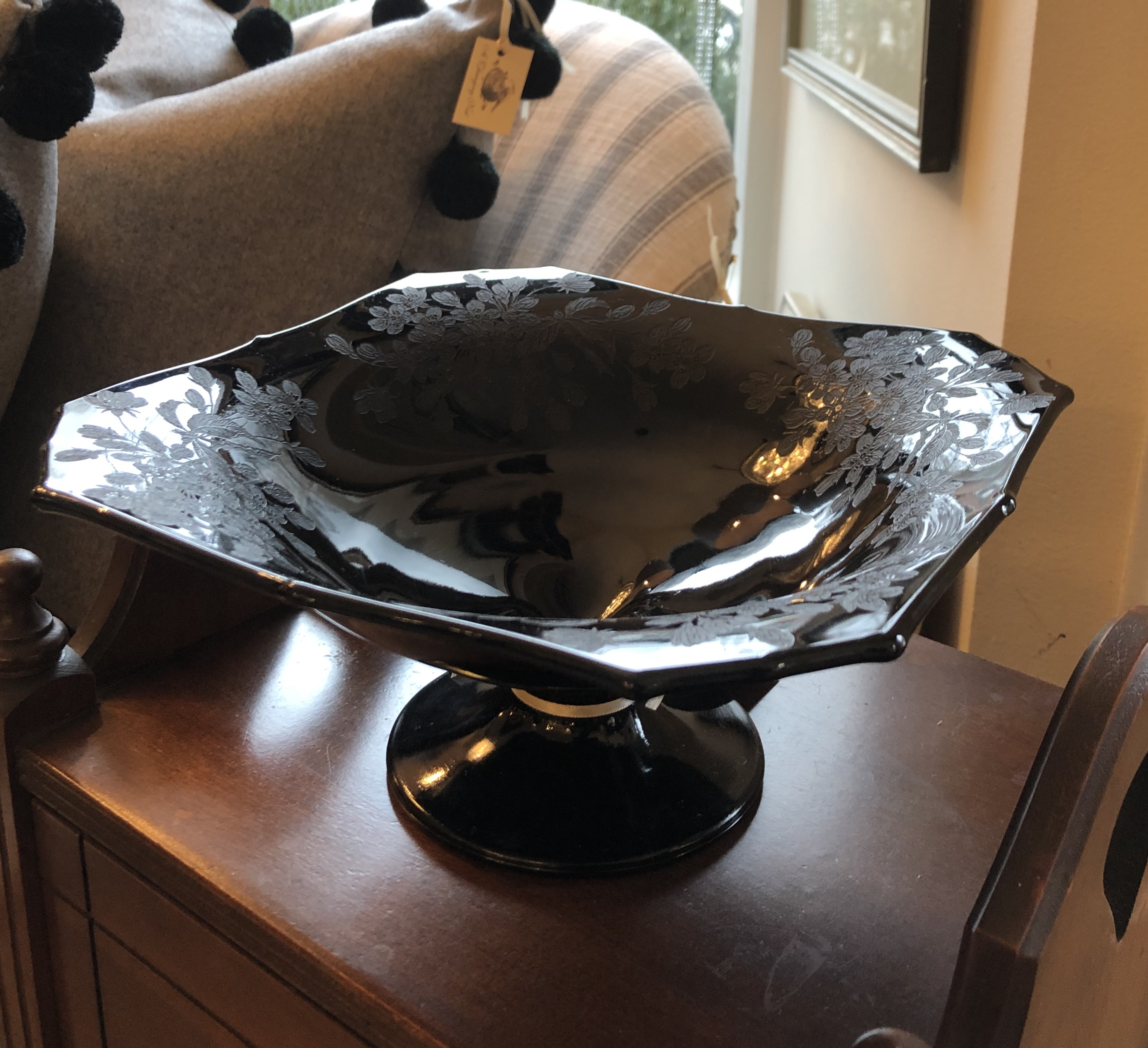 Rare Etched Depression Glass Compote