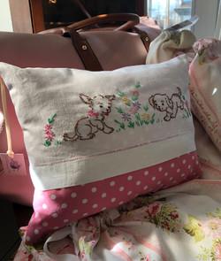 Vintage Handmade Embroidered Cushion