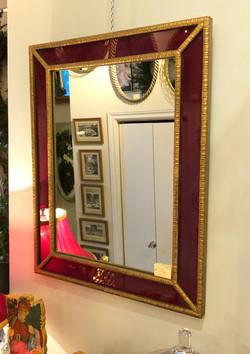 Vintage Mirror in Red Enamel Frame