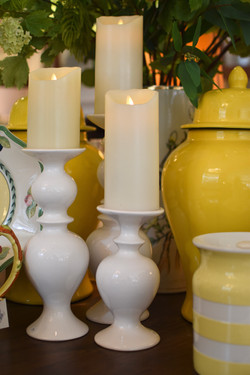 White Ceramic Candleholders