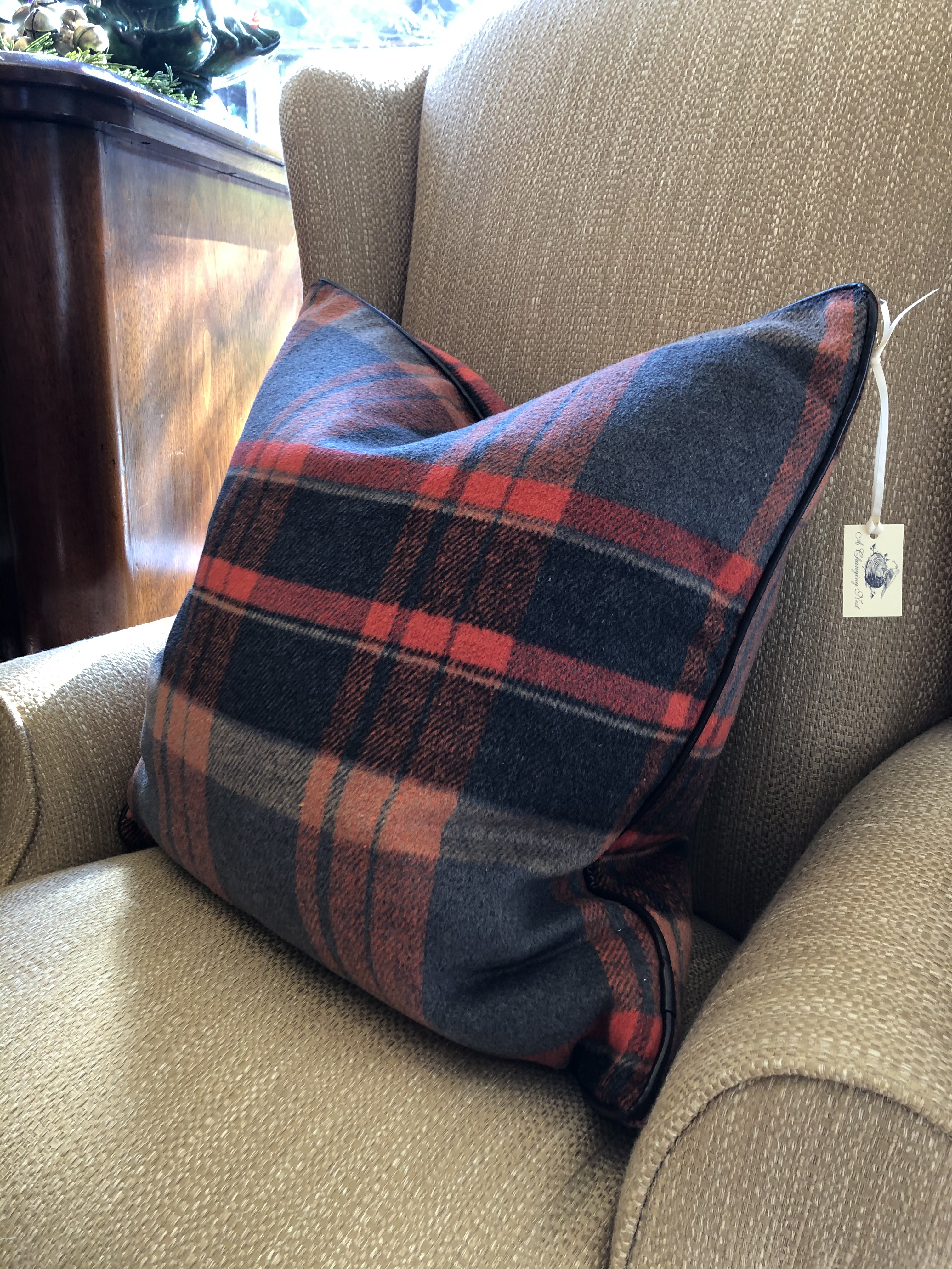 Plaid Pillow with Feather Insert