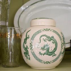 Vintage Green & White Chinoiserie Ginger Jar