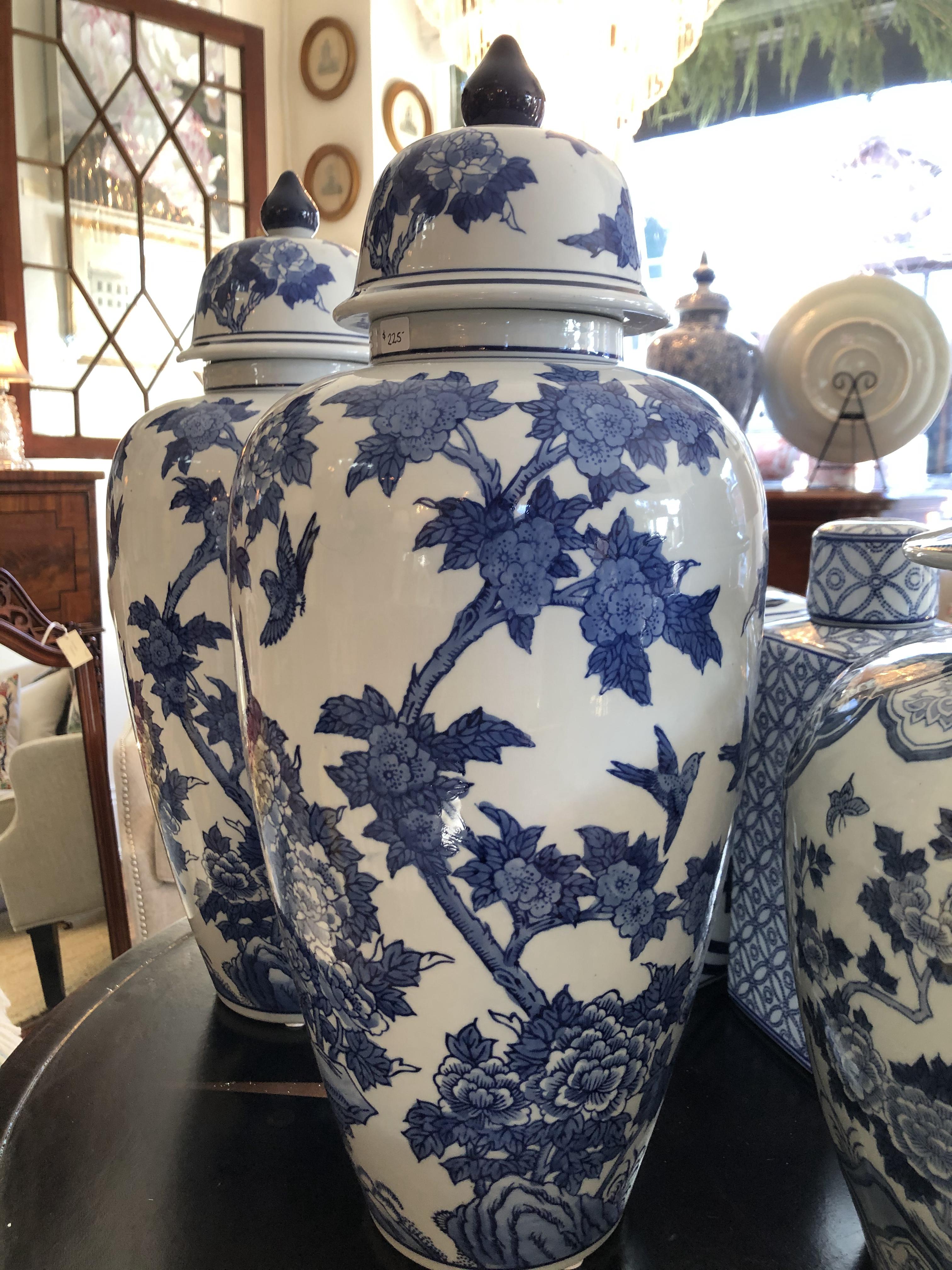Tall Blue Floral Ginger Jar