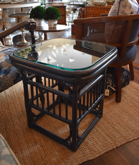 Painted Vintage Bamboo End Table with Glass Top