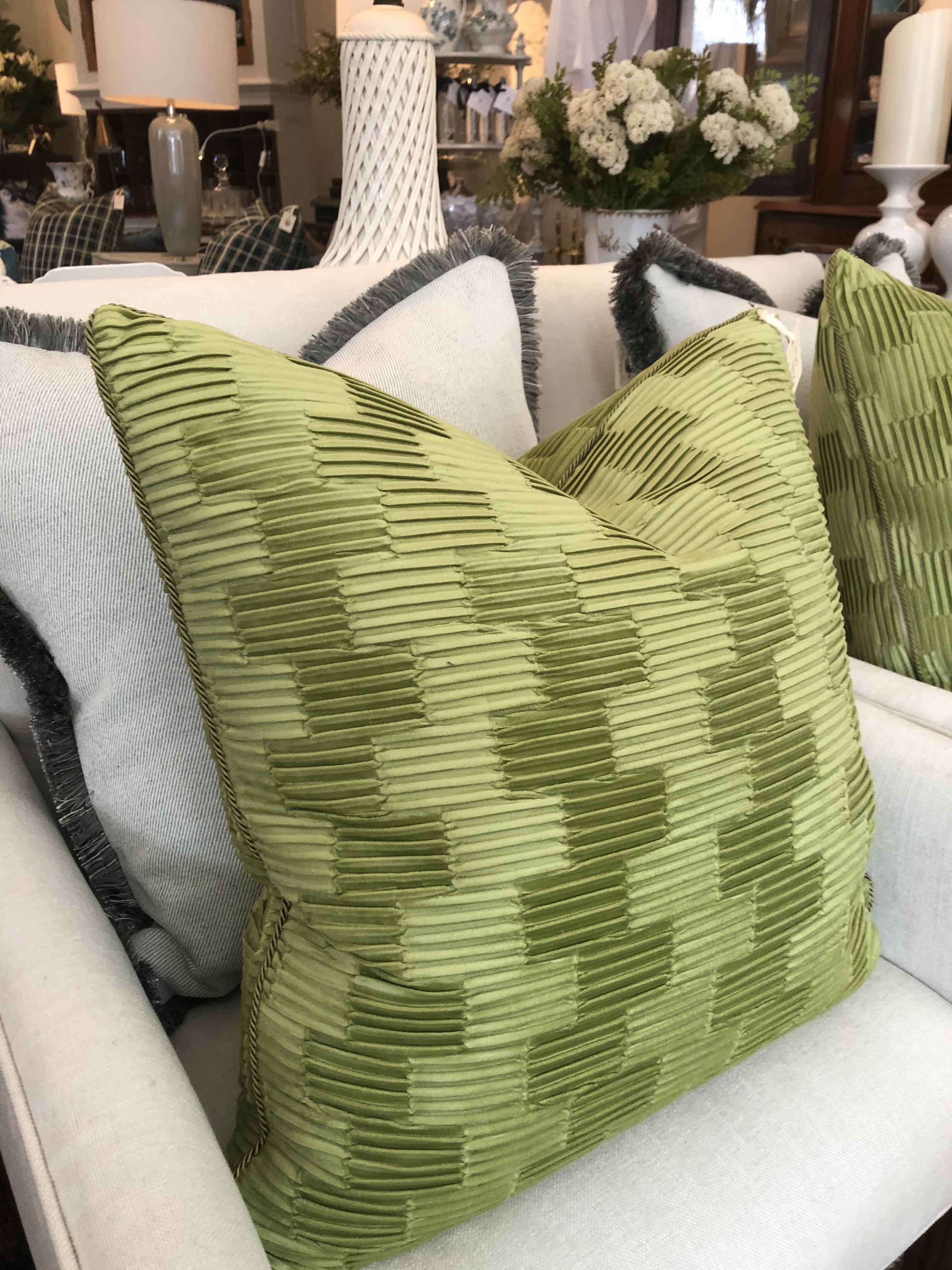 Custom Chartreuse Velvet Cushion