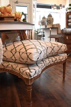 Newly Upholstered Ottoman on Vintage Base