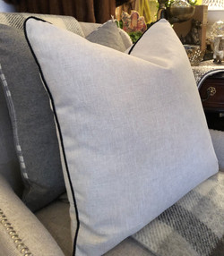 Custom Linen Cushion with Black Rope