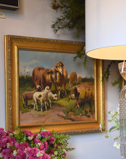 Original Framed Pastoral Cow and Sheep
