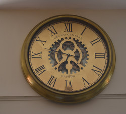 Brass Finish Clock with Exposed Gears