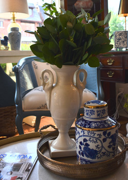 Vintage Cream Vase with Swans