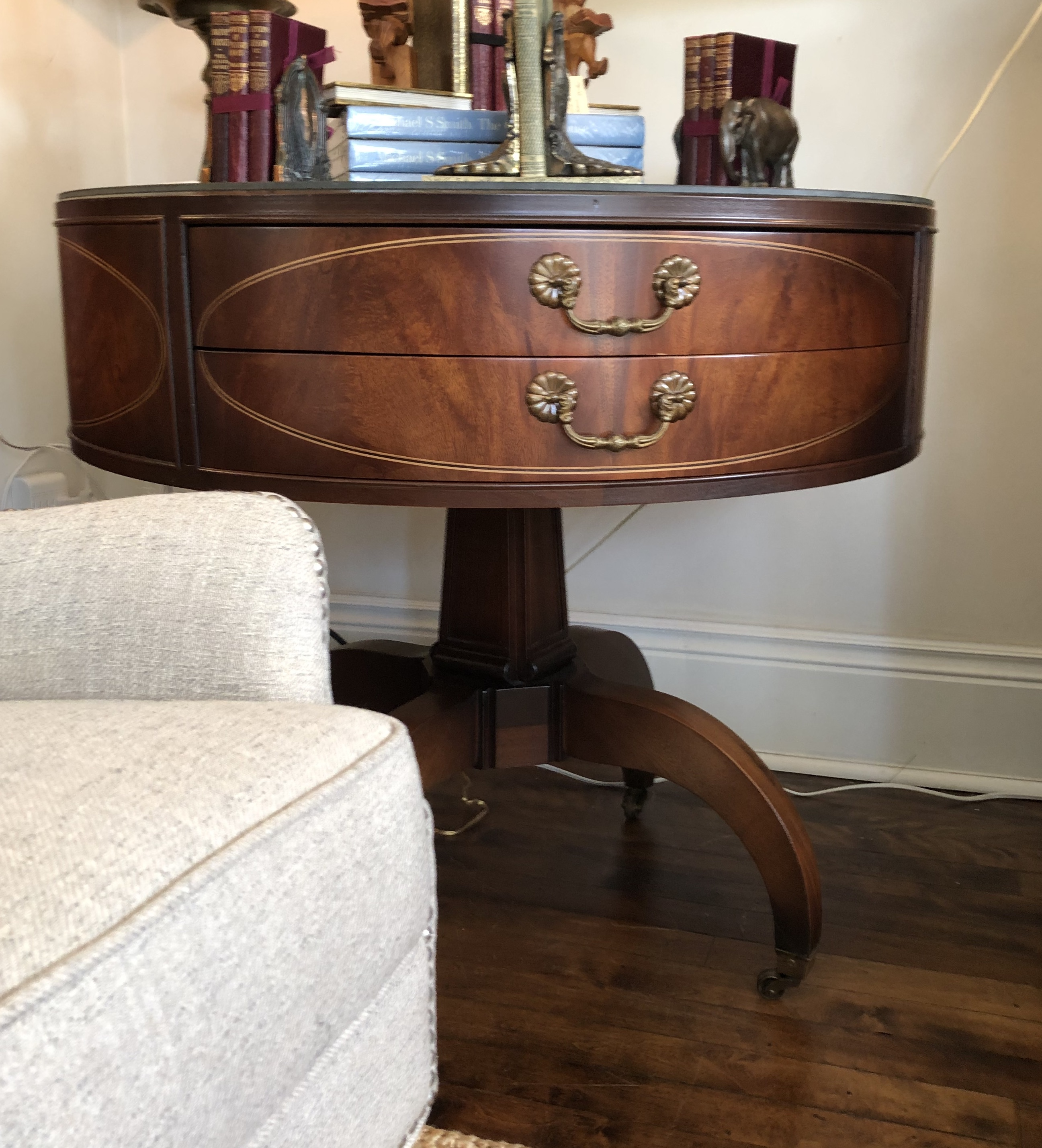 Refinished Antique Barrel Hall Table