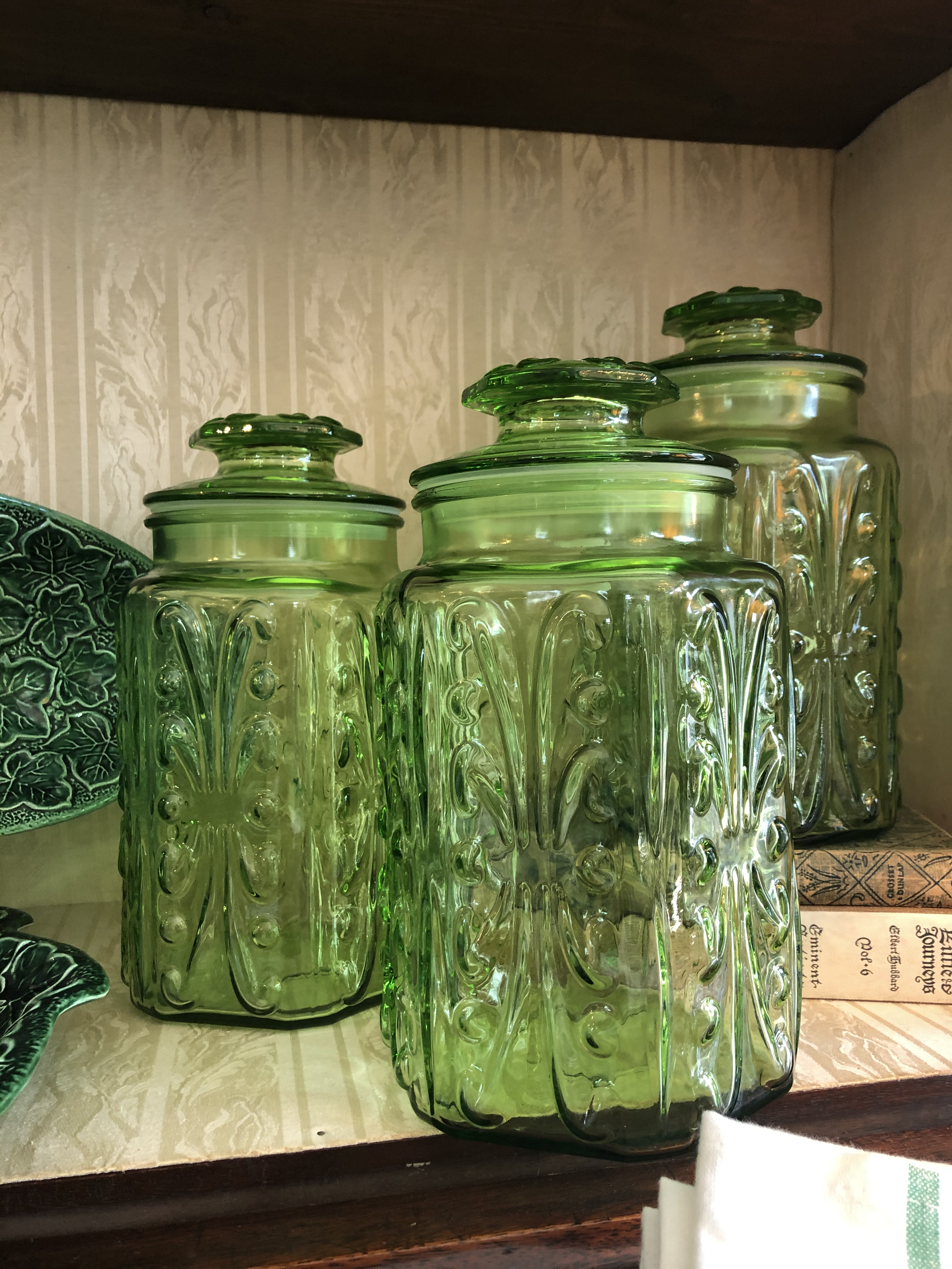 Vintage Green Glass Cannisters