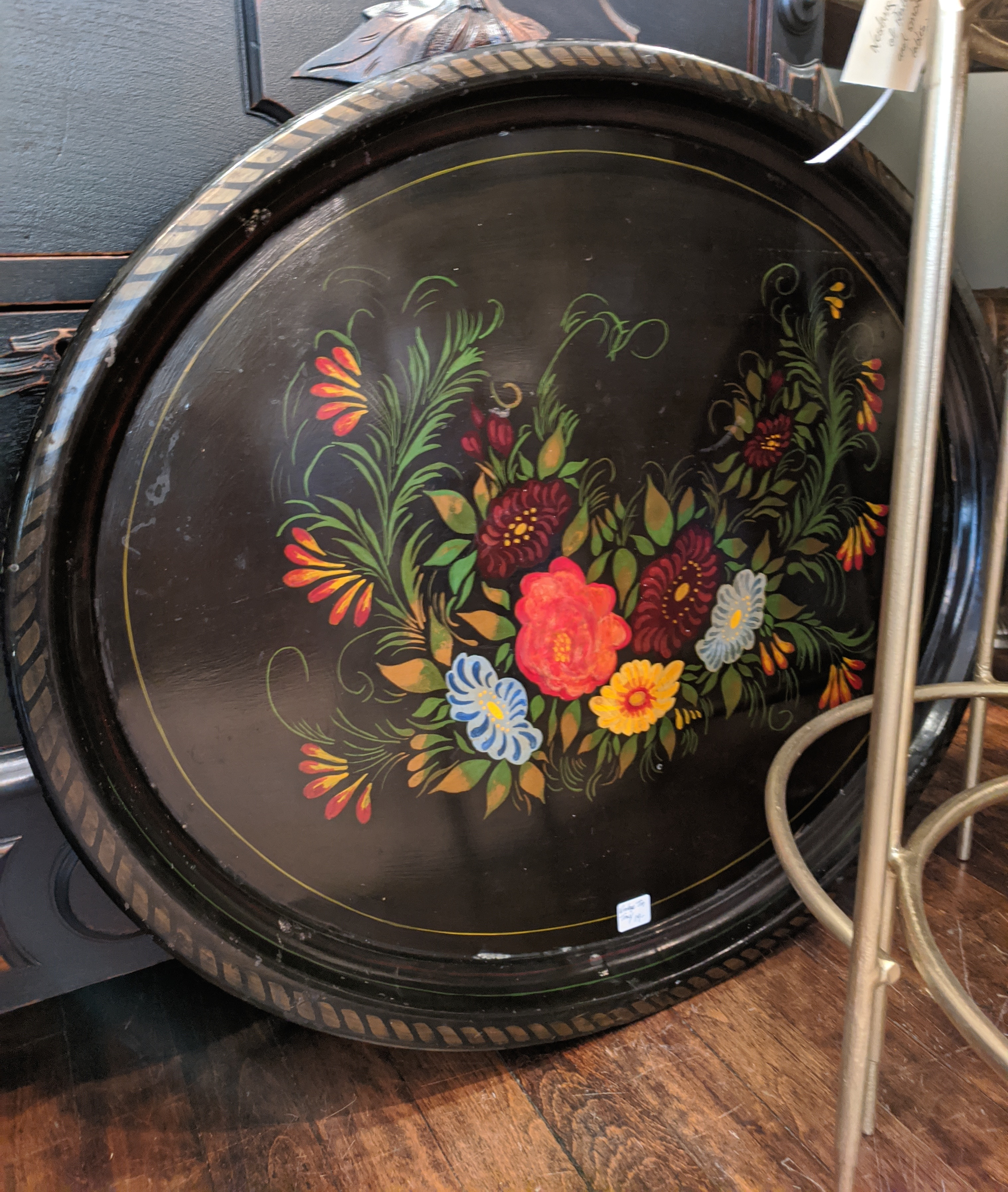 Large Vintage Handpainted Tin Tray