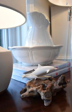 Dolphin w/ Calf Sculpture on Burl-wood Base