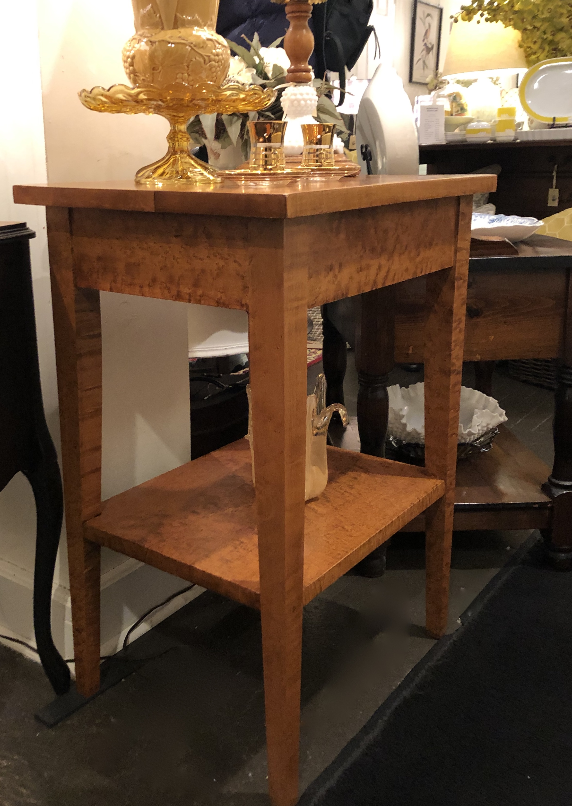 Vintage Birds Eye Maple End Table