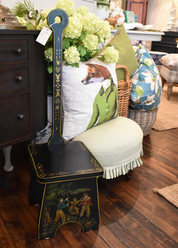 Distressed Hand Painted Tall Ming Chair