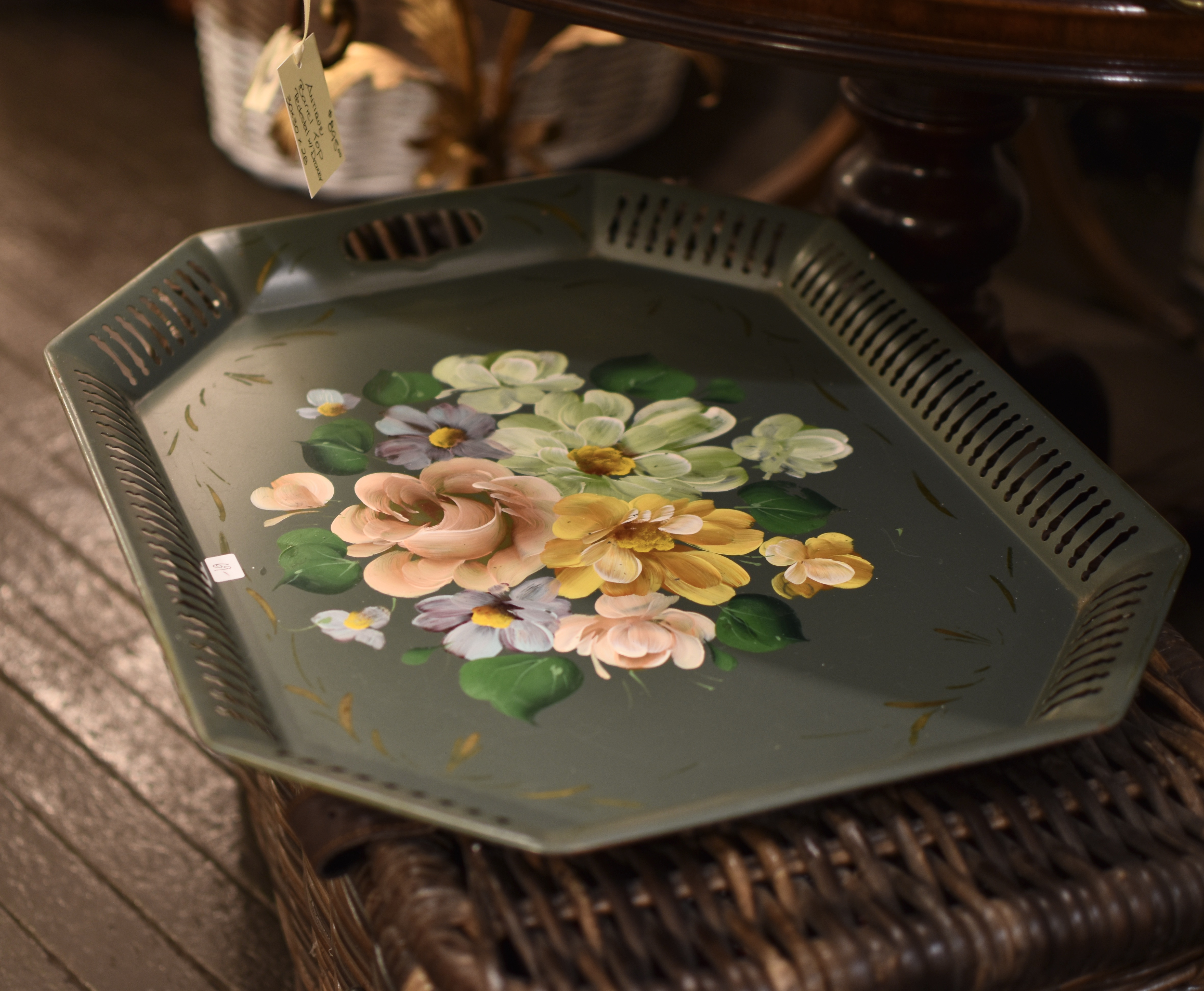 Vintage Handpainted Tin Tray