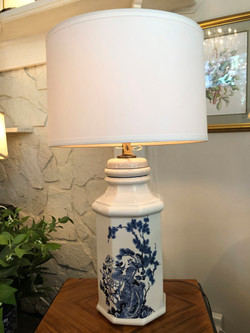 Vintage Blue and White Lamp