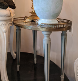 Vintage Painted Oval Table with Marble Top &