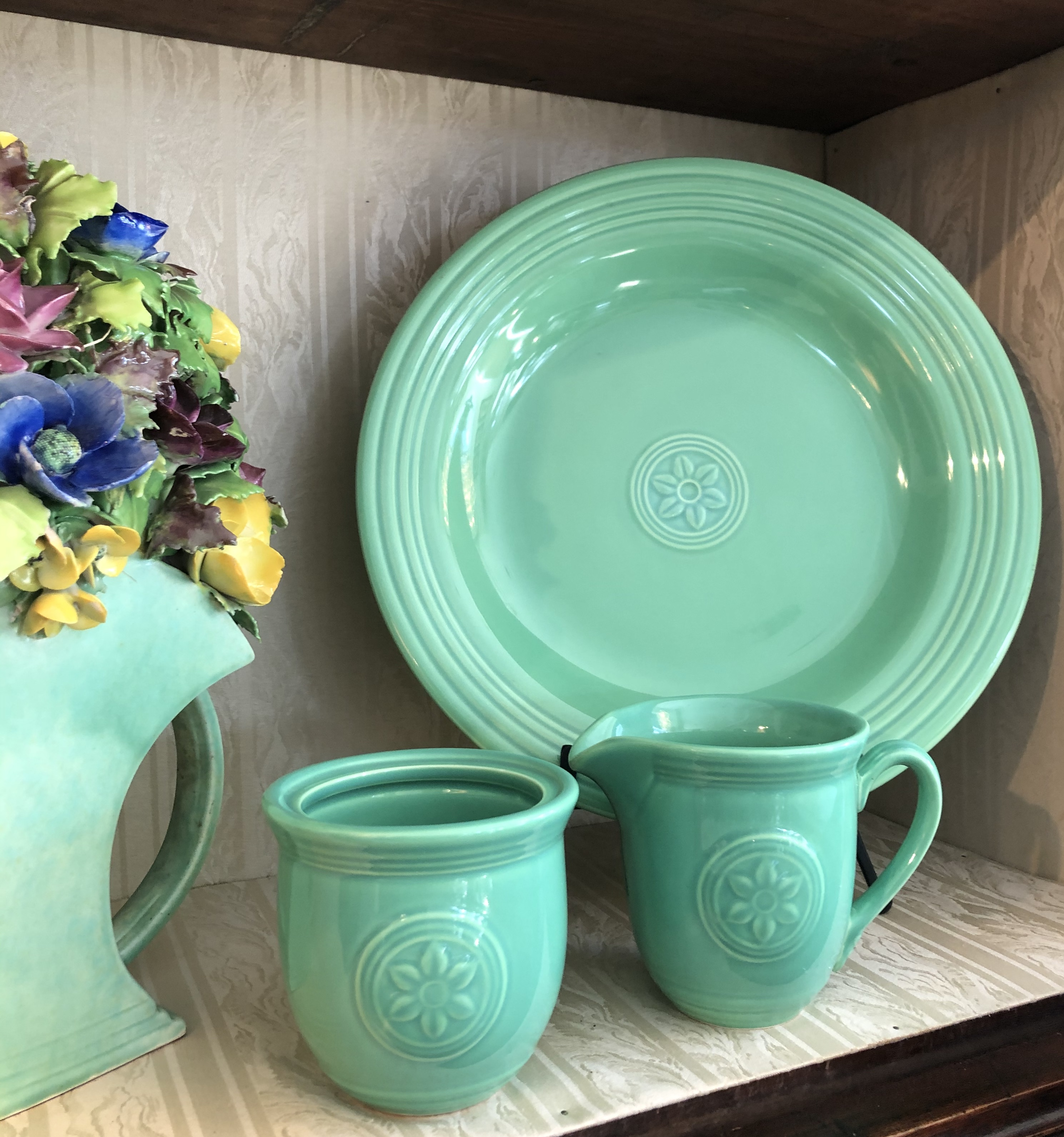 Bold Green Ironstone Platter and Cream a