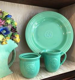 Bold Green Ironstone Platter and Cream and Sugar