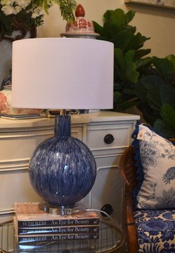 Blue Glass and Crystal Table Lamp