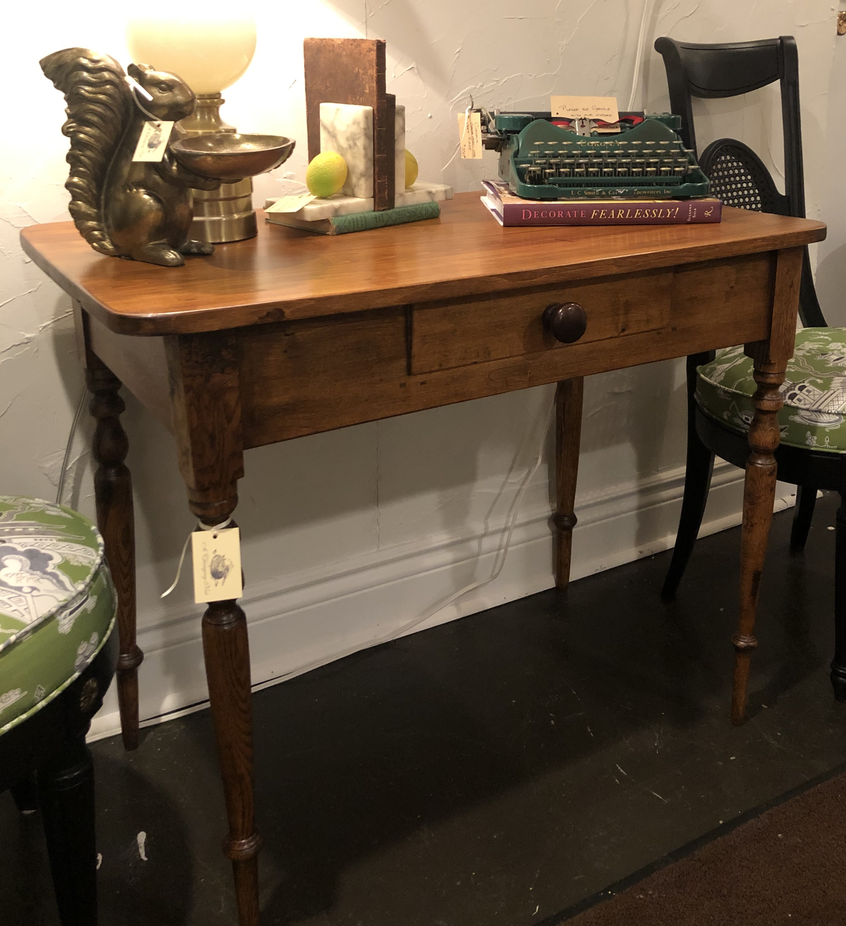Small Oak Desk/ Table with Turned Legs