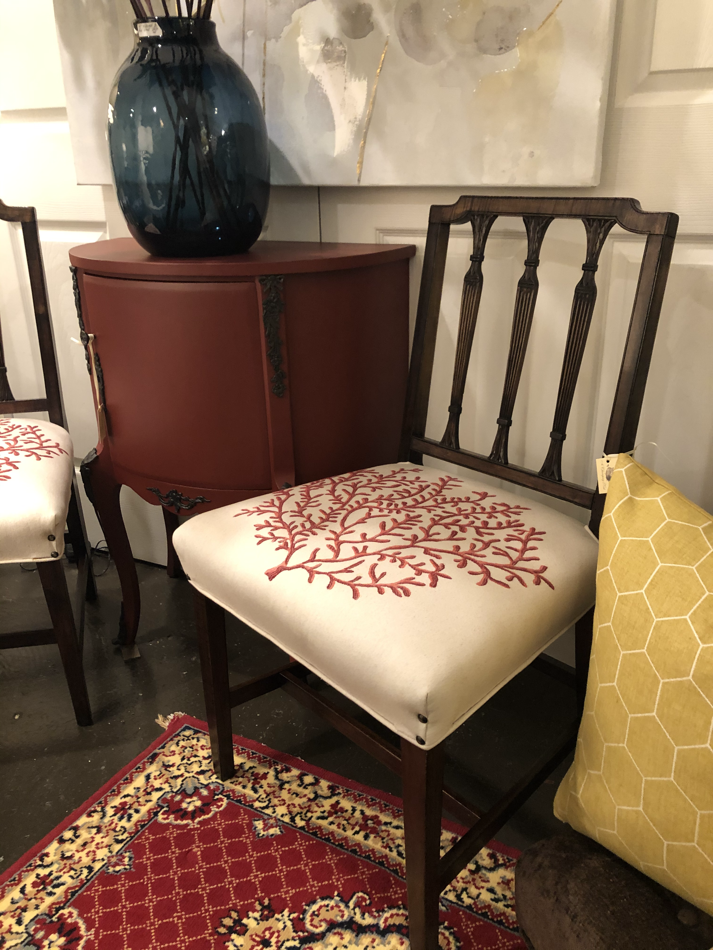 Vintage Chairs with Coral Upholstery Pai