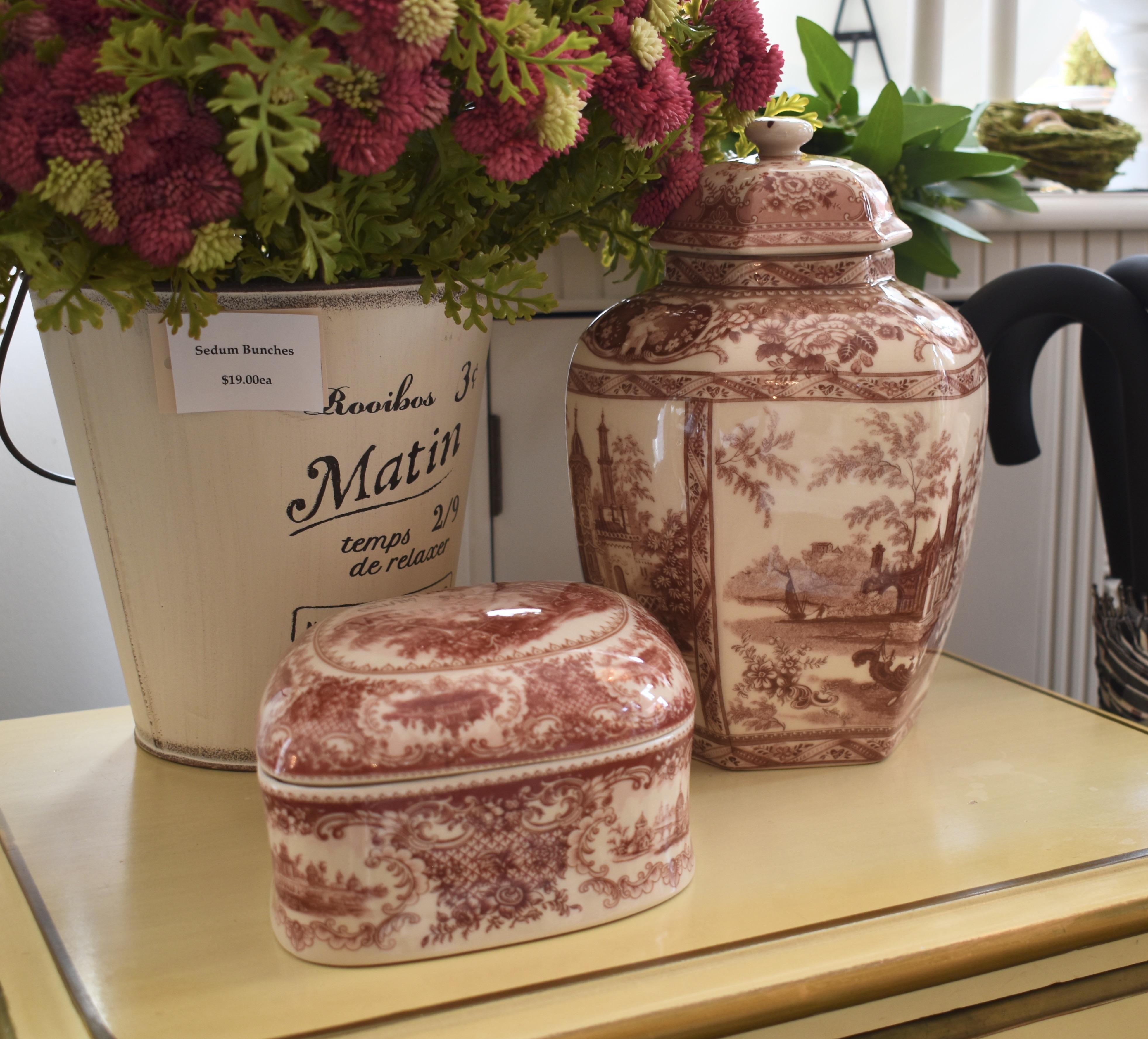Ceramic Transferware Box & Urn