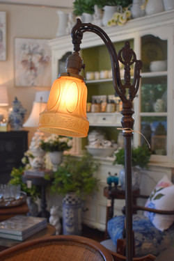 Antique Bridge lamp with Amber Glass Shade