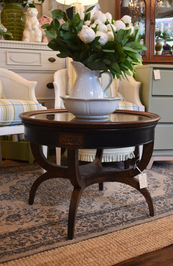 Vintage Round Coffee Table w_ Glass