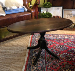 Small Vintage Oval Pedestal Coffee Table